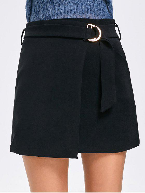 تنورة مصغرة مطرزة عالية الخصر - أسود XL