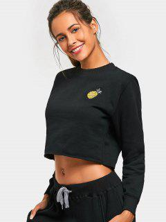 Fleeced Pineapple Embroidered Sweatshirt - Black M