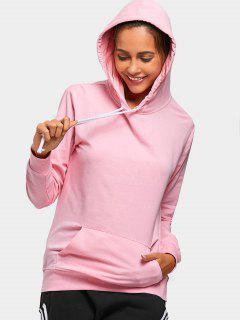 Drawstring Kangaroo Pocket Casual Hoodie - Pink L