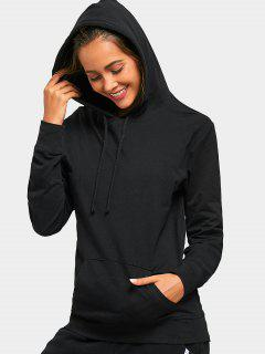 Drawstring Kangaroo Pocket Casual Hoodie - Black Xl