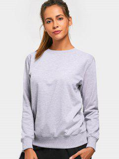 Casual Crew Neck Sweatshirt - Gray L