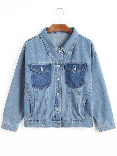 Zweifarbige Jeansjacke Mit Knopf - Denim Blau L