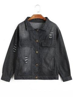 Ripped Buttons Denim Jacket - Black Xl