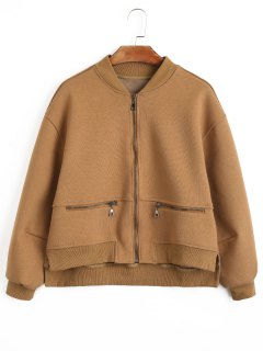 Zipper High Low Jacket - Dark Khaki S