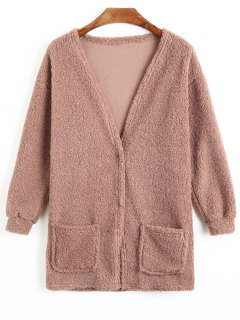 Two Button Fuzzy Coat - Pale Pinkish Grey L