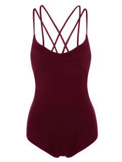 Strappy Criss Cross Jersey Bodysuit - Wine Red M