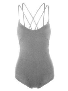 Strappy Criss Cross Jersey Bodysuit - Gray L