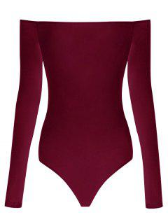 Long Sleeve Off The Shoulder Bodysuit - Wine Red Xl