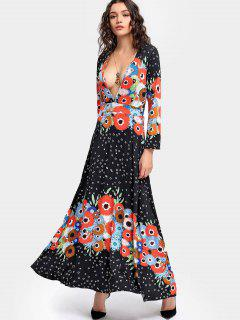 Plunge Printed Long Sleeve Maxi Dress - S