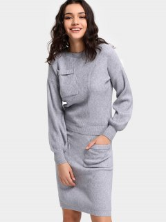 Ribbed Crew Neck Sweater And Bodycon Skirt - Gray