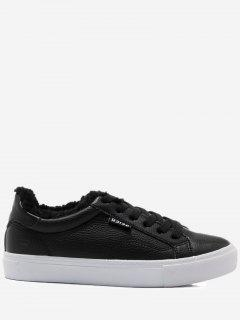 Faux Fur Warm Round Toe Low Top Sneakers - Black 36