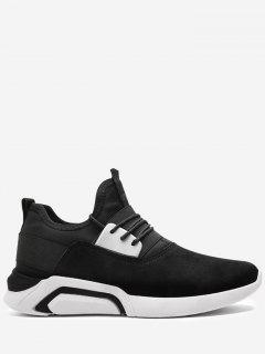 Lace Up Elastic Band Suede Athletic Shoes - Black White 40