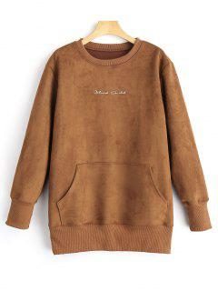Graphic Print Suede Sweatshirt - Brown L