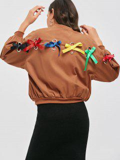 Zip Up Bowknot Bomber Jacket - Light Brown S