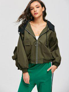 Hooded Ruffles Two Tone Bomber Jacket - Army Green S