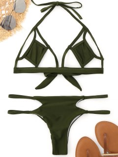 Bralette Cut Out Bikini - Army Green S