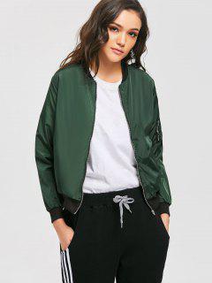 Zippered Pocket Pilot Jacket - Green S