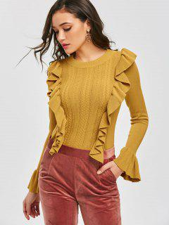 Pullover Ruffles Cable Knit Sweater - Mostaza