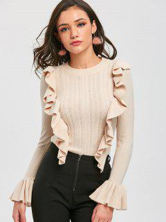 Pullover Ruffles Cable Knit Sweater - Off-white