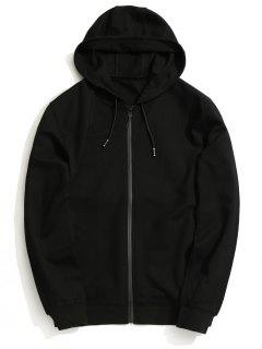 Hooded Zip Up Coat - Black M