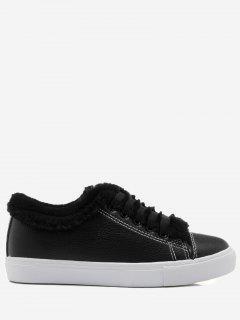 Round Toe Faux Fur Trim Skate Shoes - Black 40