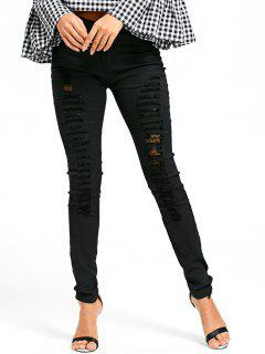 Ladder Distressed Pencil Pants - Black Xl