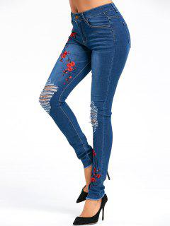 Embroidery Plum Flower Distressed Jeans - Blue L
