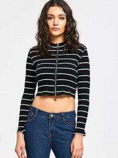 Striped Ribbed Zip Up Crop Cardigan - Black Stripe 2xl