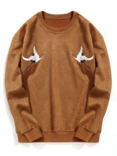 Crane Embroidered Suede Sweatshirt - Brown L