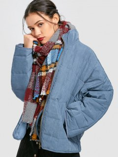 Oversized Quilted Jacket - Blue M