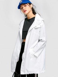 Manteau à Capuche Avec Ourlet à Cordon - Blanc