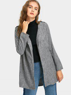 Open Front Long Sleeve Blouse - Gray L