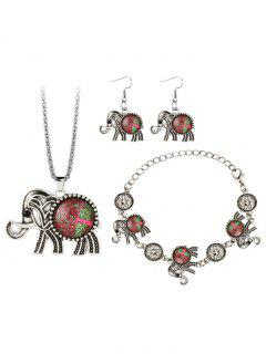 Elephant Gem Embellished Necklace Earring Bracelet Jewelry Set - Red