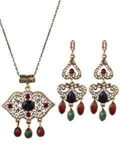 Boho Style Lip Shape Rhinestone Embellished Jewelry Set - Black