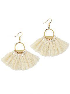Fan Tassel Embellished Hollow Out Drop Earrings - White
