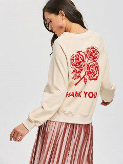 Raglan Sleeve Letter Rose Sweatshirt - Light Beige L
