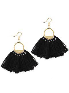 Fan Tassel Embellished Hollow Out Drop Earrings - Black
