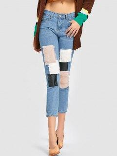 Pantalones Vaqueros De Parche De Piel Sintética - Denim Blue S