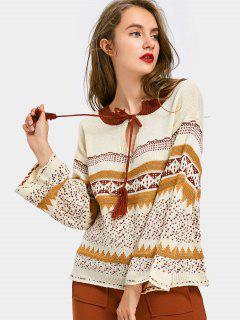 Geometric Graphic Bow Tie Sweater - Multi