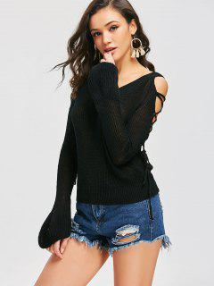 V Neck Lace Up Cold Shoulder Sweater - Black S