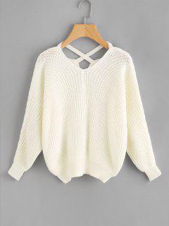 Pullover Mit Kreuzgurte Und V Ausschnitt - Weiß