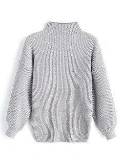 Suéter De Cuello Alto Con Manga De Linterna - Gris