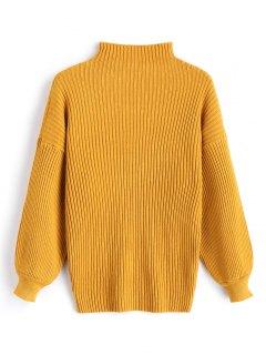 Pullover Lantern Sleeve High Neck Sweater - Mustard
