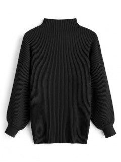 Pullover Lantern Sleeve High Neck Sweater - Black