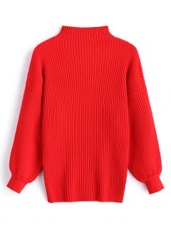 Pullover Lantern Sleeve High Neck Sweater - Red