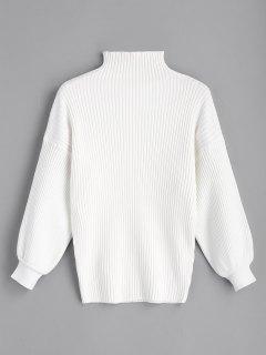 Pullover Mit Hohem Kragen Und Lantern-Ärmel  - Weiß