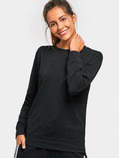 Casual Crew Neck Sweatshirt - Black L