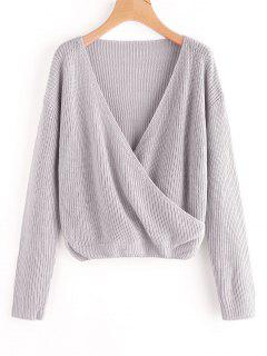 Crossed Front Pullover V Neck Sweater - Gray