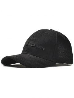 Letter Embroidery Faux Suede Baseball Hat - Black