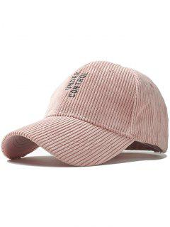 Vertical Letter Pattern Embroidery Baseball Hat - Pink